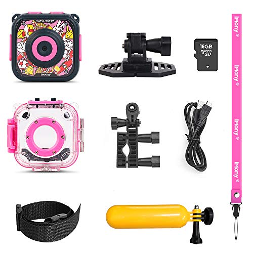 Kids Camera, iMoway Waterproof Video Cameras for Kids HD 1080P Kids Digital Cameras Camcorder with 16GB Memory Card, Card Reader and Floating Hand Grip (Pink) by iMoway (Image #7)