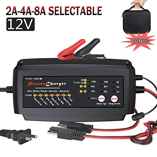 12V 2/4/8A Battery Charger Multi Amp Maintainer Portable Auto Trickle Float Deep Cycle 7 Steps Charging for Motorcycle Lawn Mower Automotive Boat RV SLA ATV AGM Gel cell Lead Acid Batteries