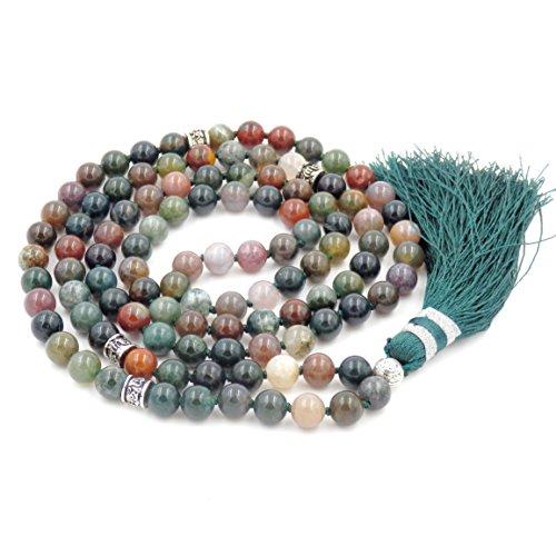 Gemstone Mala Beads Necklace, Mala Bracelet, Buddha necklace, Hand Knotted Mala (Indian Agate) ()