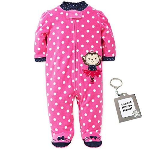 Fleece Polka Dot Blanket (Little Me Monkey Polka Dot Blanket Sleeper Footie Ballerina Feet - Pink - 3M)