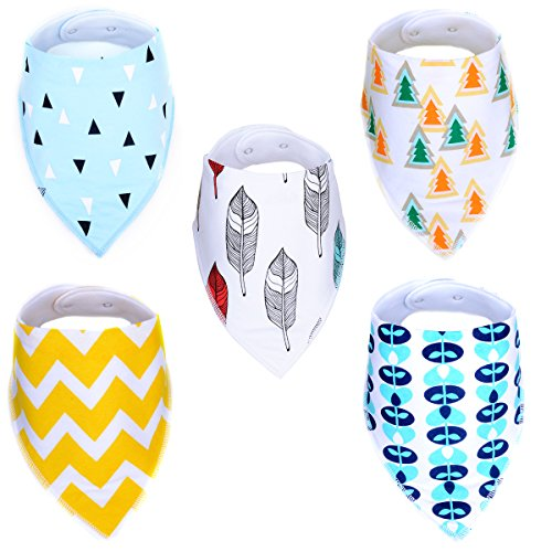 - Cobiz 5 Pack Baby Bandana Bibs for Drooling and Teething - Unisex Washable Drool Bibs Set for Newborns or Toddlers