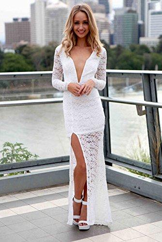 Damen Weiß Bestickte Spitze lange Ärmel Abendkleid Cruise Ball Party ...