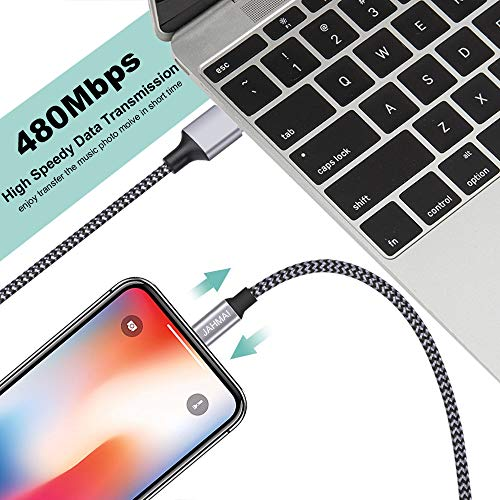 JAHMAI iPhone Charger, Nylon Braided Lightning Cable 3Pack 6ft Fast Charging High Speed Data Sync Cord Phone Connector Compatible with iPhone 11 Pro XS MAX XR XS X 8 7 Plus 6S 6 SE iPad Mini Air Pro