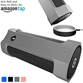 Amazon Tap Case Sling Cover [Anti-Roll] Easily Dock on Your USB Charger Cradle Base Now With The Best Bottomless Silicone Design by CUVR (Gray)