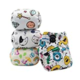 Image of Baby Cloth Diapers Reusable Pocket Cloth Diapers Washable 4pcs Covers+4pcs Inserts