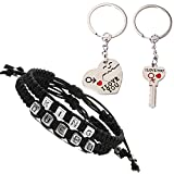 Fashionsupermarket Couples 2pcs Bracelets and 2pcs Keychains for King Queen Charm Handmade Personalized Wristband