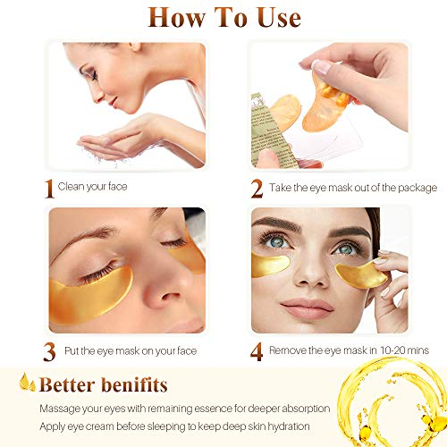 51IJ LPXC8L - 24K Golden Collagen Eye Pads - Gel Eye Mask for Eyes Treatment Puffiness Anti Aging Removing Bags Deep Hydration Relieve Dark Circles Under Eye Gel Mask for Women and Men (20 Pairs)
