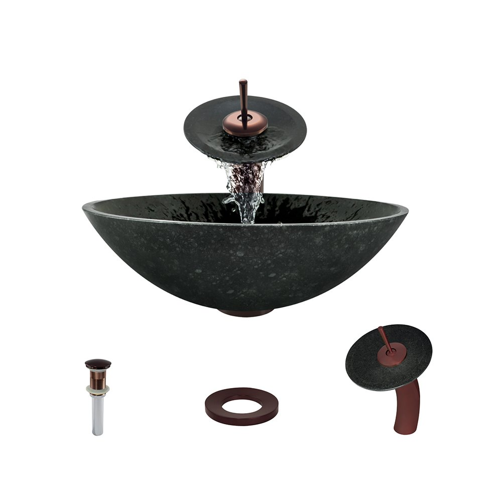 854 Honed Basalt Black Granite Vessel Sink Oil Rubbed Bronze Bathroom Ensemble with Waterfall Faucet Bundle – 4 Items Sink, Faucet, Pop Up Drain, and Sink Ring