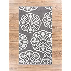 """Lali Dials Suzani Grey Ivory Modern Area Rug 2x4 ( 2'3"""" x 3'11"""" ) Modern Oriental Traditional Soft Pile Contemporary Scatter Entryway Foyer Accent Carpet Doomrat Thick Plush Stain Fade Resistant"""
