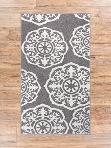 Lali Dials Suzani Grey Ivory Modern Area Rug 2x4 ( 2'3