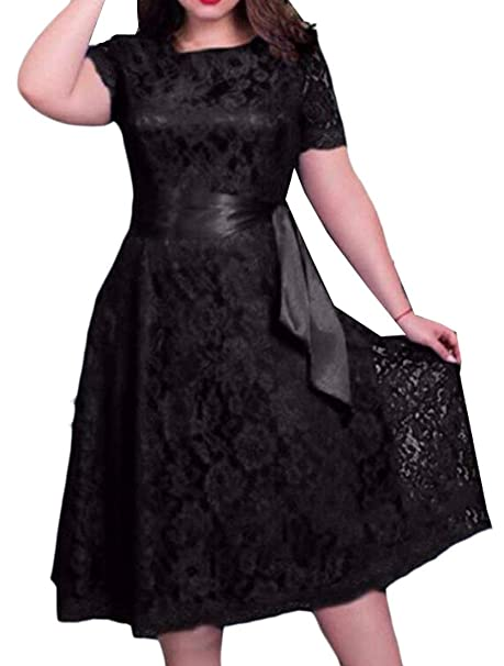 Mk988 Womens Stylish Loose Fit Plus Size Sexy Lace Dress At