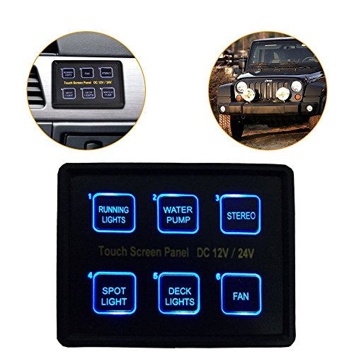 Mictuning 12V/24V 6 Gang LED Switch Panel Slim Touch Control Panel Box for Car Marine Boat Caravan (Winch Control Panel compare prices)