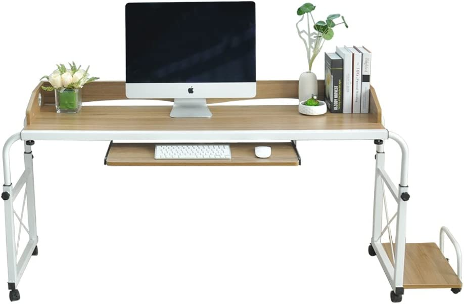 DlandHome Tavolino Mobile Tavolo da Infermiere da 120 cm Tavolo per Computer per Uso ospedaliero da Letto Acero Bianco