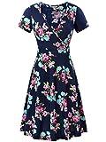 MSBASIC Women's Summer Dresses Elegant Pleated Work Dress Navy Peony L