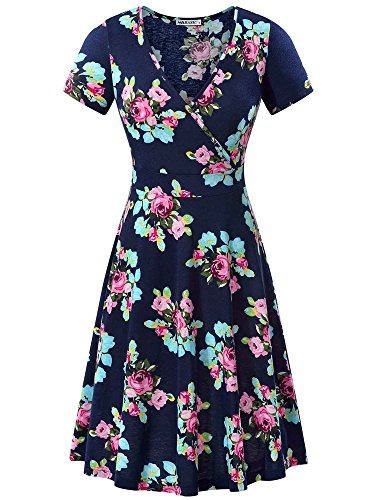 MSBASIC Women's Deep V Neck Short Sleeve Unique Cross Wrap Casual Flared Midi Dress (XX-Large, Navy Peony)