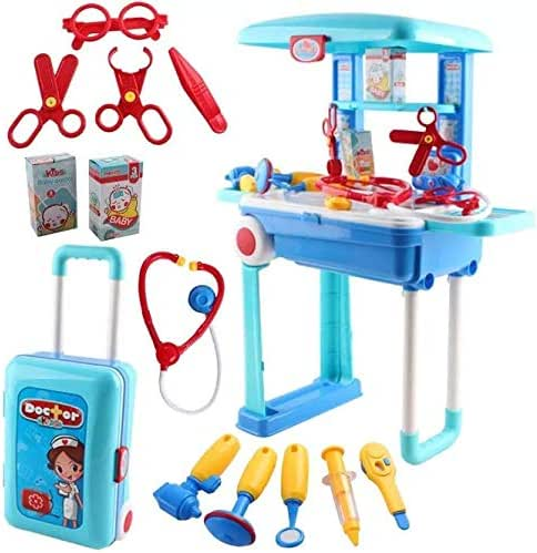 O.B Toys&Gift 2 in 1 Kids Pretend Doctor Play Set Carry Medical Suitcase w/ Medical Table , Medical Tools & Accessories , Kids Pretend Doctor Nurse Medical Toy Set (Doctor Set)