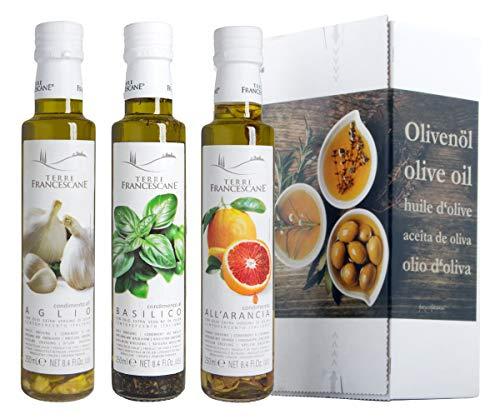 3er Probier-Paket Terre Francescane – Extra Natives Olivenöl Dressing mit Orangen, Basilikum und Knoblauch (3 x 250 ml)