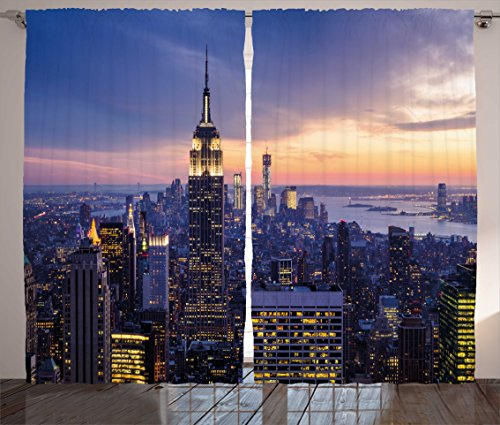 Ambesonne Modern Decor Curtains, New York City Skyline with Skyscrapers at Sunset Night American Town Image, Living Room Bedroom Window Drapes 2 Panel Set, 108W X 84L Inches, Blue ()