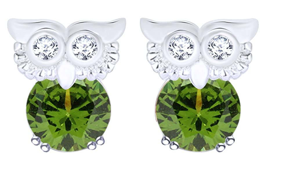 Round Cut Simulated Peridot Owl Stud Earrings In 14K White Gold Over Sterling Silver