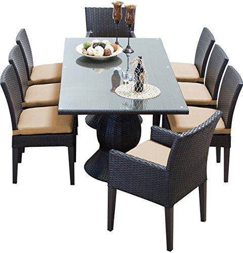 TK Classics NAPA-RECTANGLE-KIT-6ADC2DCC-WHEAT Napa Rectangular Outdoor Patio Dining Table with 6 Armless Chairs and 2 Armed Chairs, Wheat (Napa Patio Furniture)