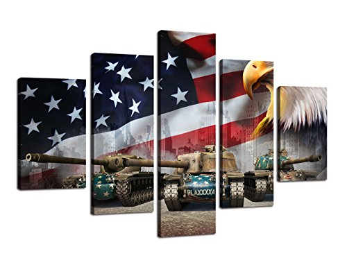Retro American flag Eagle Large canvas USA print art black w