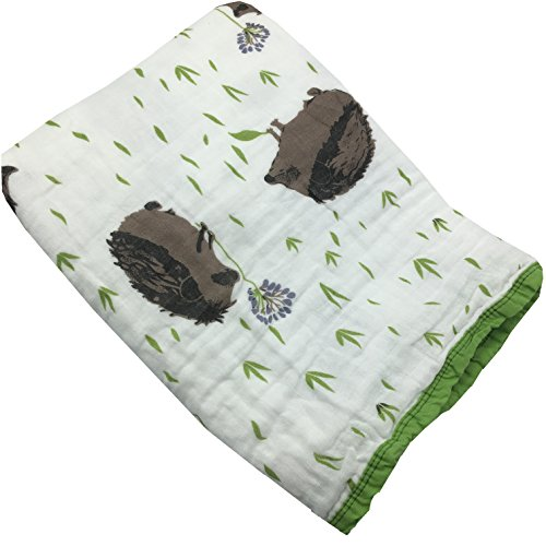 HGHG Bamboo Cotton Muslin Stroller Blanket - 4 Layers Muslin Cotton Blanket Hedgehog Blanket (Hedgehog, - Layer Receiving Blanket