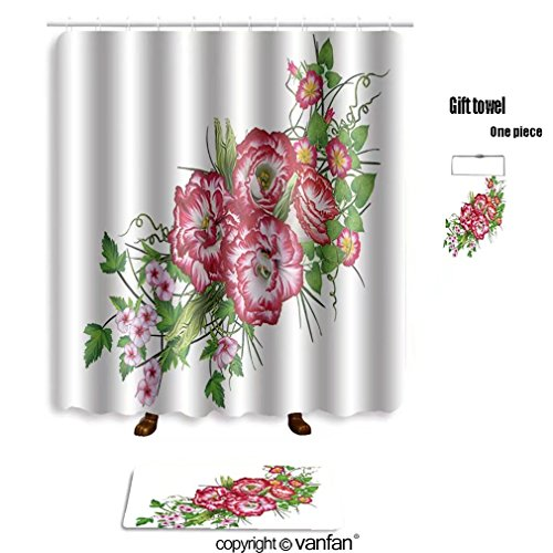vanfan bath sets with Polyester rugs and shower curtain flower arrangement bouquet bright red eustoma shower curtains sets bathroom 48 x 72 inches&23.6 x 15.7 (Free 1 towel and 12 hooks)
