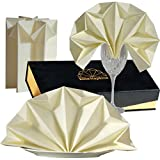 Elite Napkins PRE FOLDED Dinner Napkins Cloth Linen like Absorbent Airlaid Paper LUXURY BOX table decor for Dinner Party Wedding Memorial Day Event Hostess GIFT CHAMPAGNE biege color