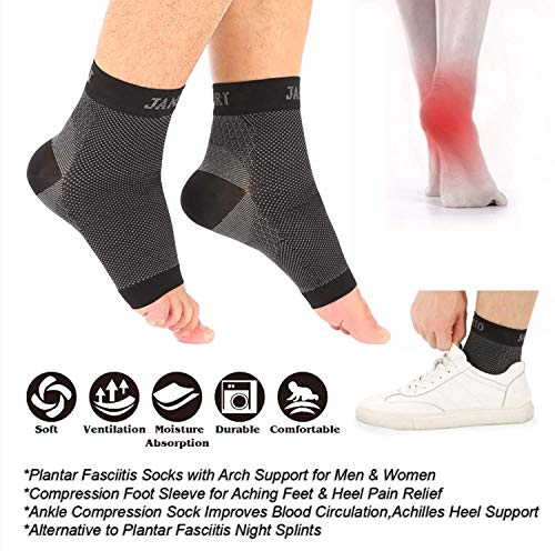 Janmid Compression Foot Sleeves for Men & Women-Plantar Fasciitis Socks for Plantar Fasciitis Pain Aid, Heel Pain, and Treatment for Everyday Use with Arch Support – DiZiSports Store