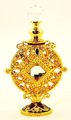 Enameled Perfume Bottle - Vintage Look Golden Enameled Empty Refilable High Quality Swarovski Crystal Perfume Bottle