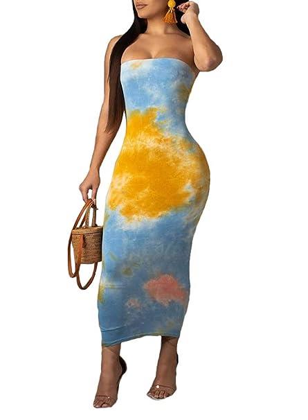 8a0da72b894 Ophestin Women Sexy Strapless Tube Tie Dye Ombre Print Off Shoulder Tight  Bodycon Long Pencil Maxi