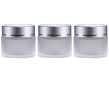 ed87b21ccad7 Ericotry 3PCS Refillable Frosted Clear Glass Cosmetic Jars Empty Face Cream  Lip Balm Storage Container...