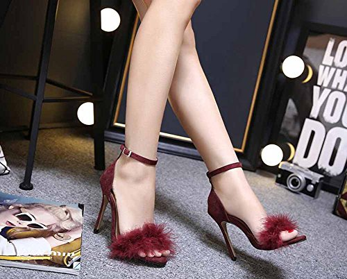 Sandals Hollow High Heel Toe Shoes Shoes Court Pumps Open Heels Women Feathers Red Plush BwxzR0H0q