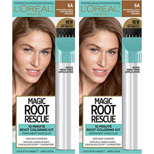 L'Oreal Paris Magic Root Rescue 10 Minute Root Hair Coloring Kit, Permanent Hair Color with Quick Precision Applicator, 100% Gray Coverage, 6A Light Ash Brown, 2 count