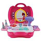 21Pcs Pretend Play Hair Dryer Makeup Toy Set Beauty Fashion Princess Cosmetic Suitcase Gift for Girls Kids Children for 3 Year Old Up…