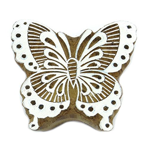 Butterfly Wooden Stamp (Pottery Stamps Butterfly Wooden Textile Stamps Brown Handcarved Stamp)