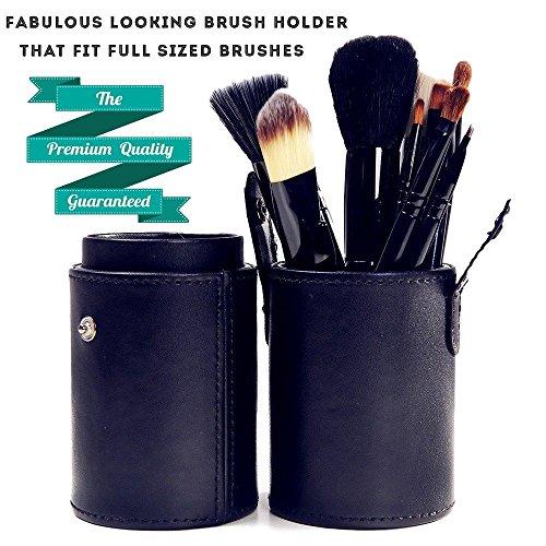 Cosmetics Brush Cup Holder Leather Makeup Holder Case, Large, Black