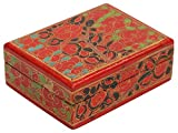 3.8 Inch Decorative Jewelry Box Trinket / Keepsake Box –Red Paper Mache Box - Gifts for Her