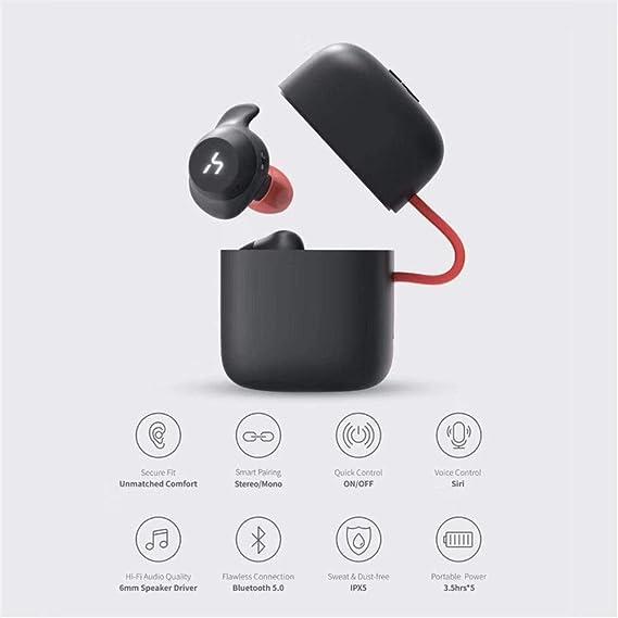 Auriculares Bluetooth, HAVIT TWS Auricular Bluetooth 5.0 Auricular deportivo inalámbrico inalámbrico IPX5 Auriculares estéreo a prueba de agua con una caja ...