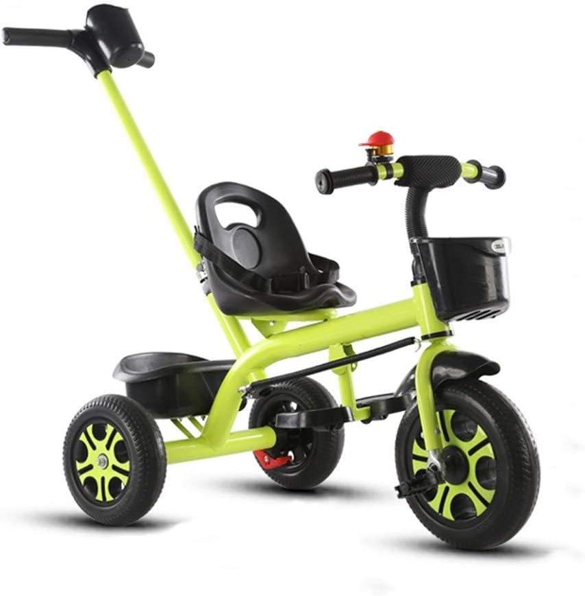 Jixi Carrito de bebé Caja de Almacenamiento de Triciclo for niños con Freno de manija de Empuje, Diseño de absorción de choques Niños Niño Bicicleta (Color : Green)