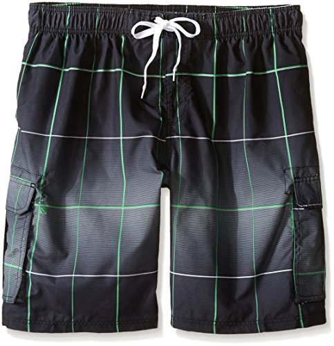 Kanu Surf Men's Big Vector Plaid Extended Size Swim Trunks, Black, 3X by Kanu Surf