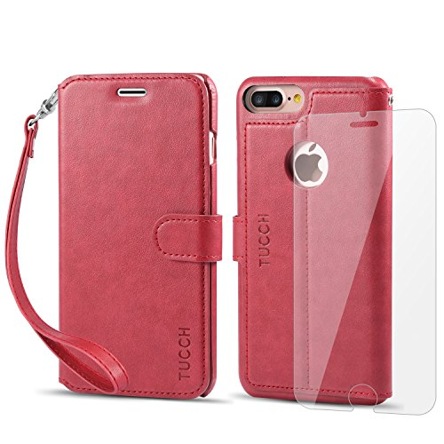 iPhone 8 Plus Wallet Case, iPhone 7 Plus Case, TUCCH Leather Wallet Phone Case [Card Slot] [Flip] [Wallet] [Stand] [Wrist Strap] Carry-All Case for iPhone 8 Plus/7 Plus (5.5 Inch), Red