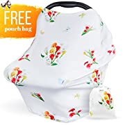Carseat Canopy Cover for Girls and Boys - Infant Car Seat Covers, Multi Use Nursing Cover for Breastfeeding, Best Baby Shower Gift - Floral Butterfly Print