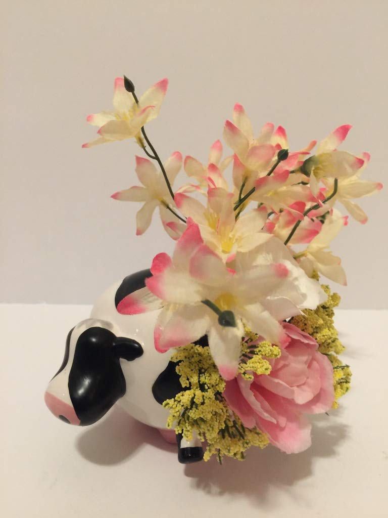 ANIMAL FUN - CERAMIC BLACK & WHITE COW VASE 2 - PINK & WHITE TWEEDIA - PINK ROSE - WHITE ROSE - YELLOW BABIES BREATH
