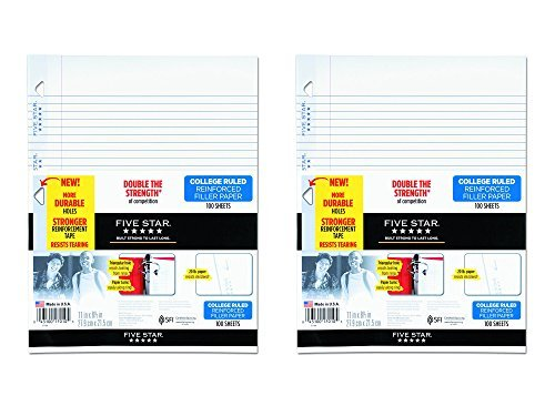 Set of 2 Five Star Reinforced College Ruled, Loose-leaf 11 in. x 8.5 in. Filler Paper bundled by Maven Gifts by Essendant