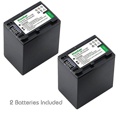 Kastar NP-FV100 Battery (2X) for Sony DCR-SR15, SR21, SR68, SR88, SX15, SX21, SX44, SX45, SX63, SX65, SX83, SX85, HDR-CX110, CX115, CX130, CX150, CX160, XR160, CX360, CX560, CX700, PJ10, PJ30, PJ50