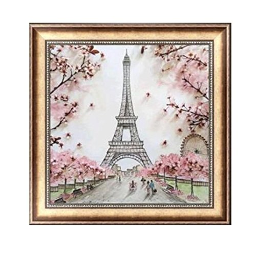 5D DIY Diamond Painting Paris Tower Cross Craft Stitch Embroidery Tools for Home Wall Decor Art (Pink)