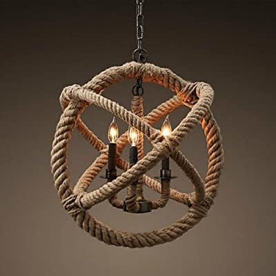 LightInTheBox Classic Retro 3 Lamp Hemp Rope Chandelier Country Style Pendant Lights Ceiling Lamp for Hallway, Study Room/Office, Dining Room, Bedroom, Living Room