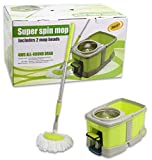Super Spin 360° Mop with Wheeled Bucket and 2 Mop Heads Stainless Steel Plate 4WD All-Round Drag