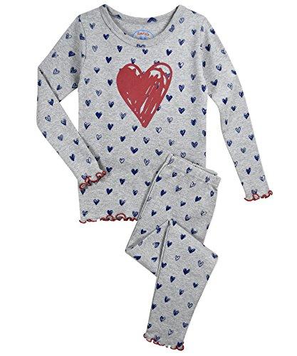 (Sara's Prints Girls' Little Sweet Ruffle Edged Snug Fit Pajama Set, Scribble Heart,)
